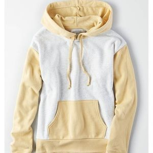 American Eagle Yellow and Grey Color-block Hoodie